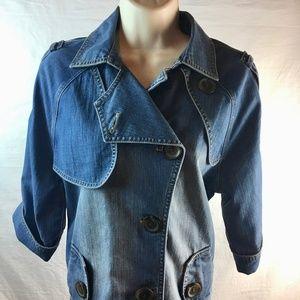 Chicos Womens Size 1 Denim Jacket Blue 1/2 Sleeve